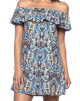 Capella Apparel Printed Ruffle Mini Dress