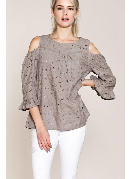 Embroidery Cold Shoulder Top
