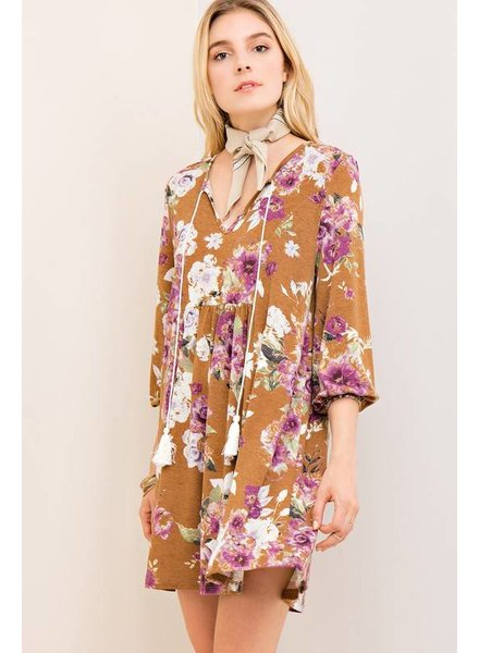 Floral Tassel Shift Dress