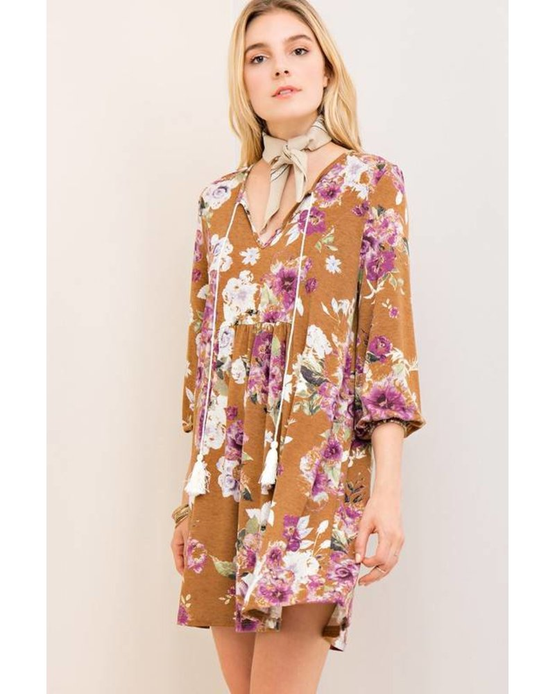 Floral Tassel Shift Dress