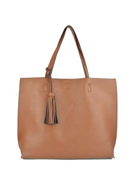 Large Reversible Tote in Camel Beige