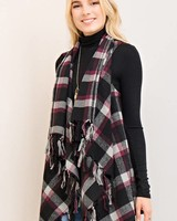 Draped Plaid Vest