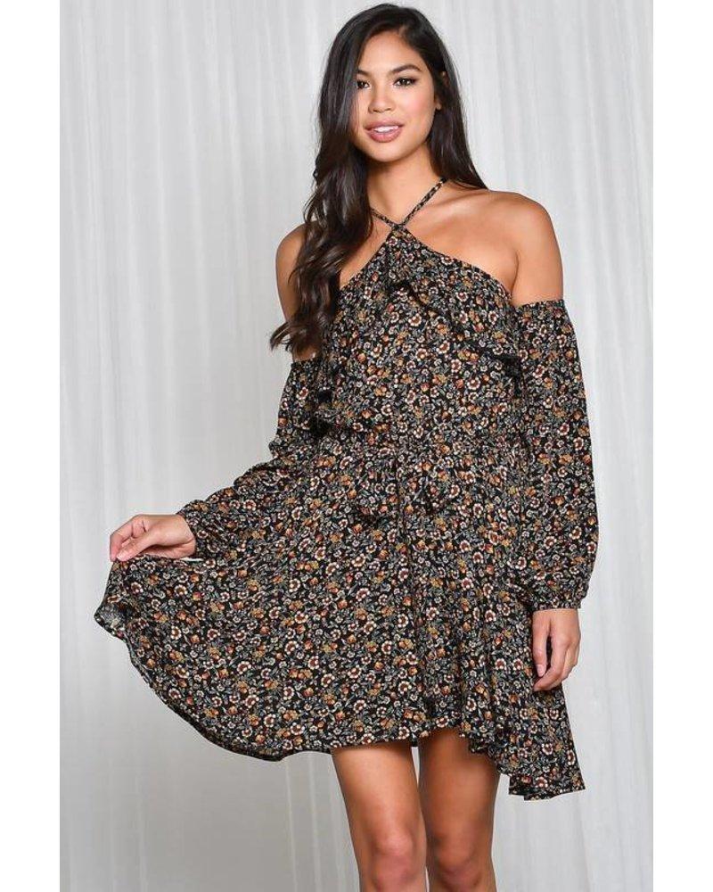 Long Sleeve Halter Dress