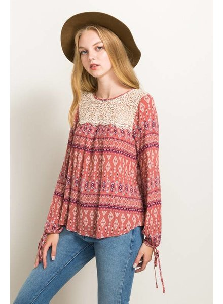 Printed Lace Tie Blouse