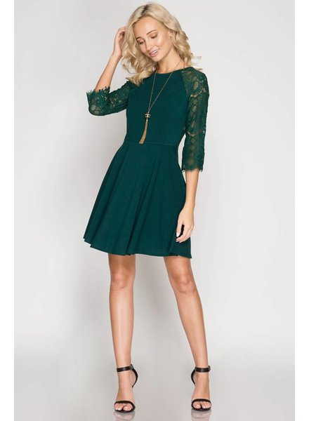 Lace Sleeve Fit and Flare Dress