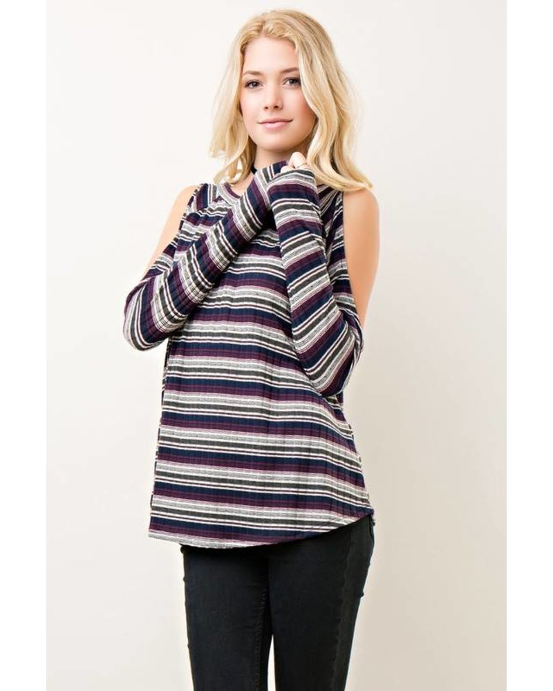 Stripe Cold Shoulder Top