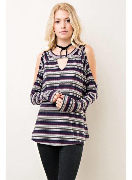 Stripe Cold Shoulder Top