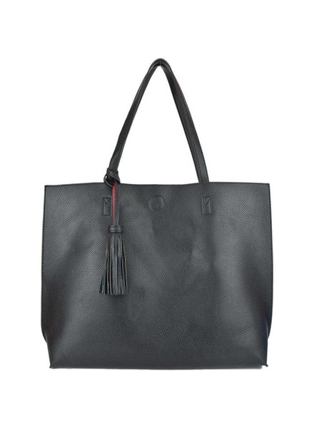 Large Reversible Tote in Black Red