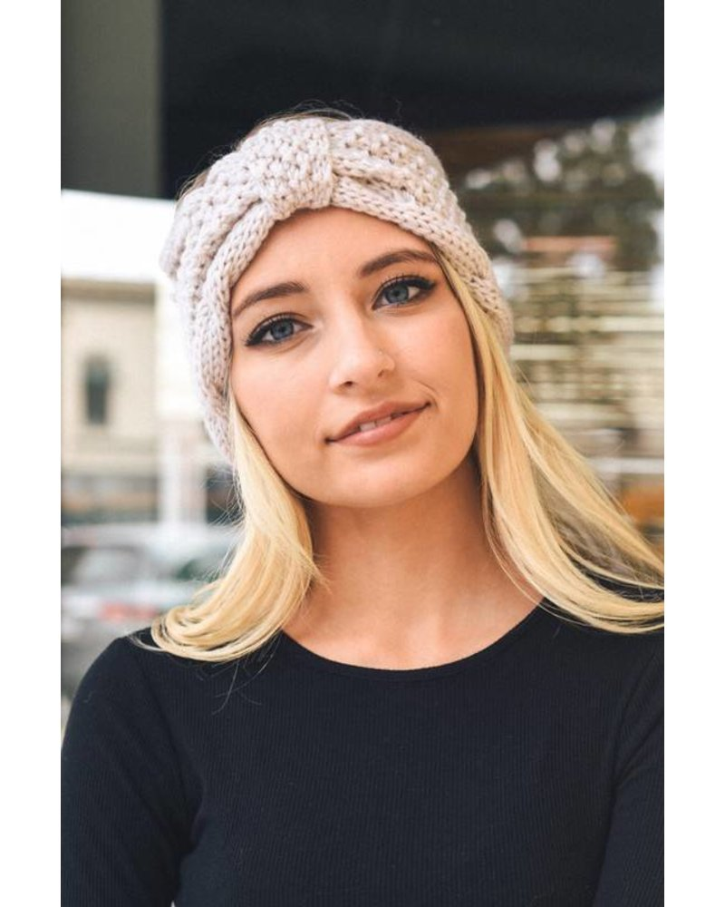 Rolled Bow Knit Headband