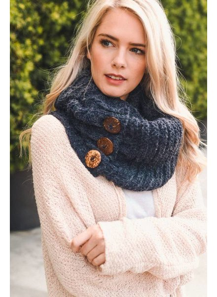 Button Knit Infinity Scarf