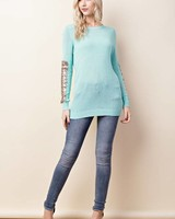 Solid Sequin Long Sleeve Top