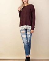 Ribbed Ruffle Knit Sweater
