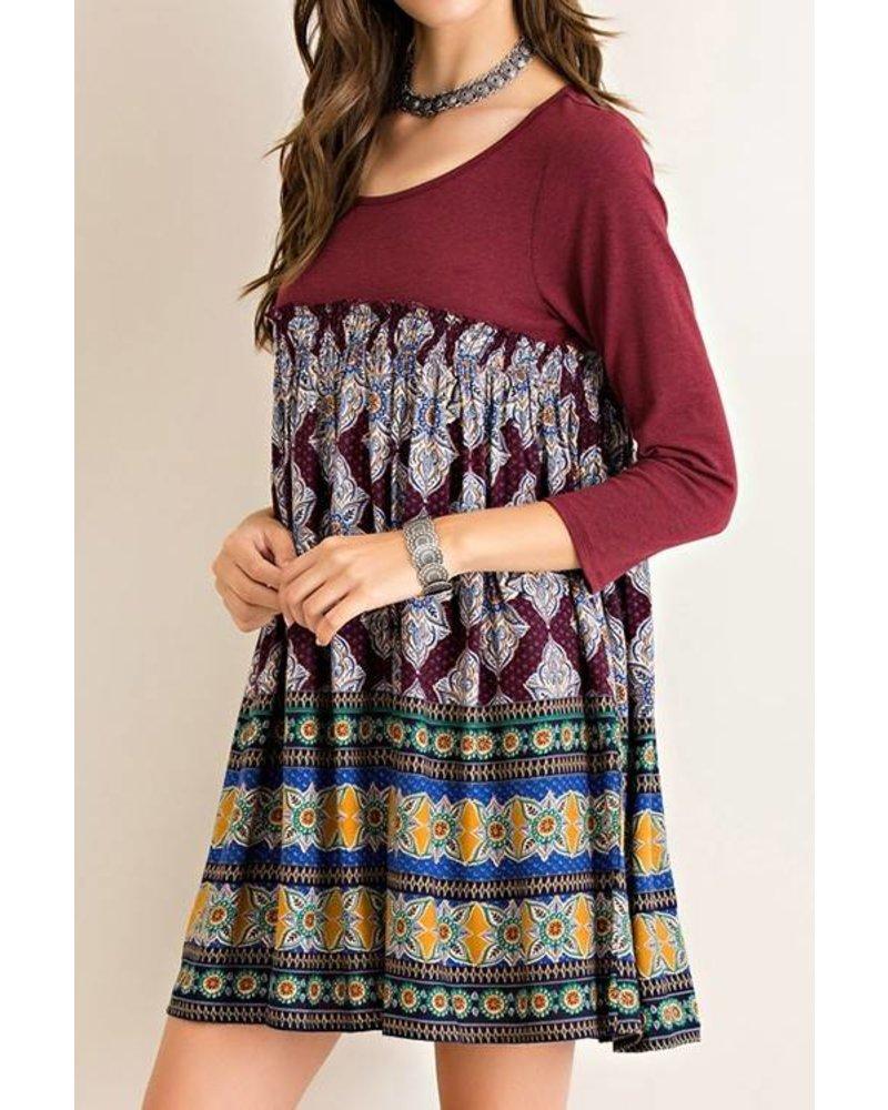 Floral Border Print Dress
