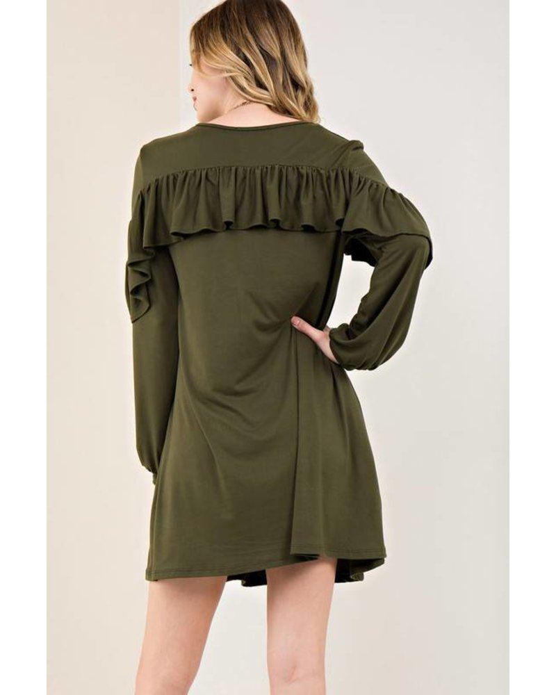 Ruffle Detailed Shift Dress