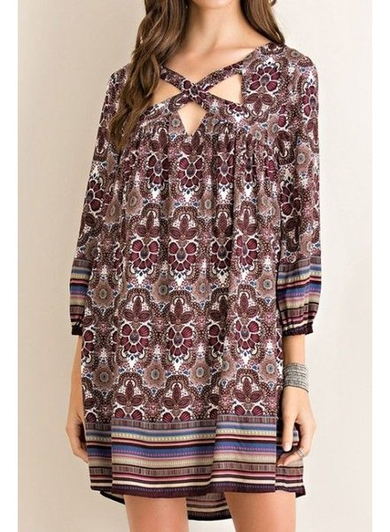 Cutout Border Print Dress