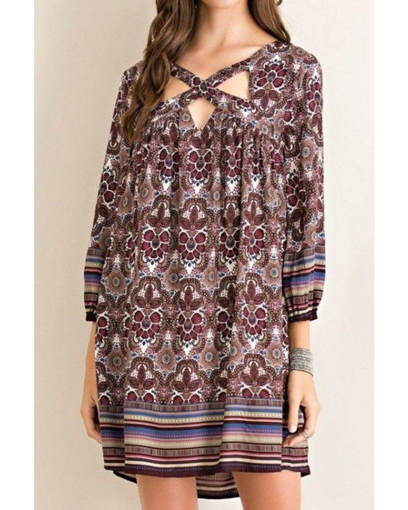 Cutout Border Print Dress