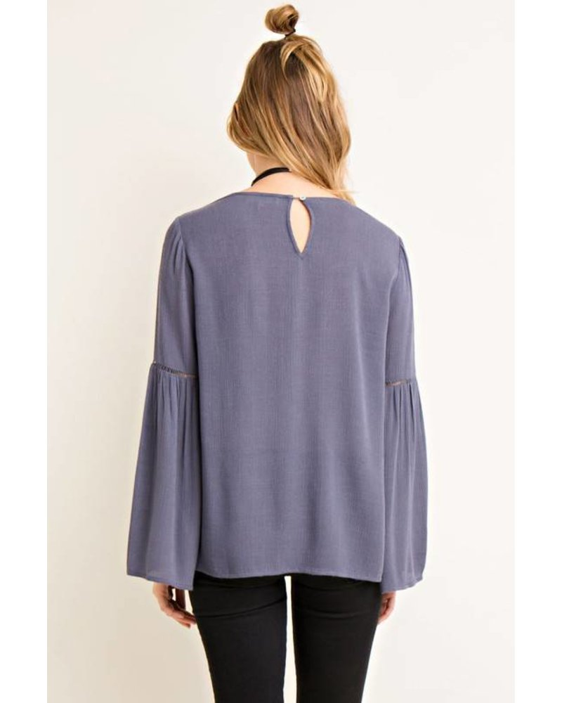 Solid Bell Sleeve Crinkle Top