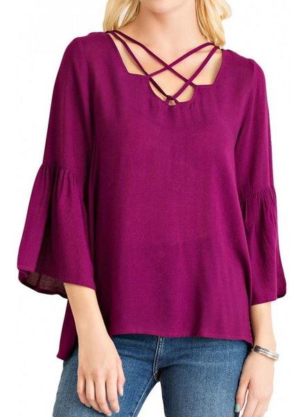 Strappy Bell Sleeve Top