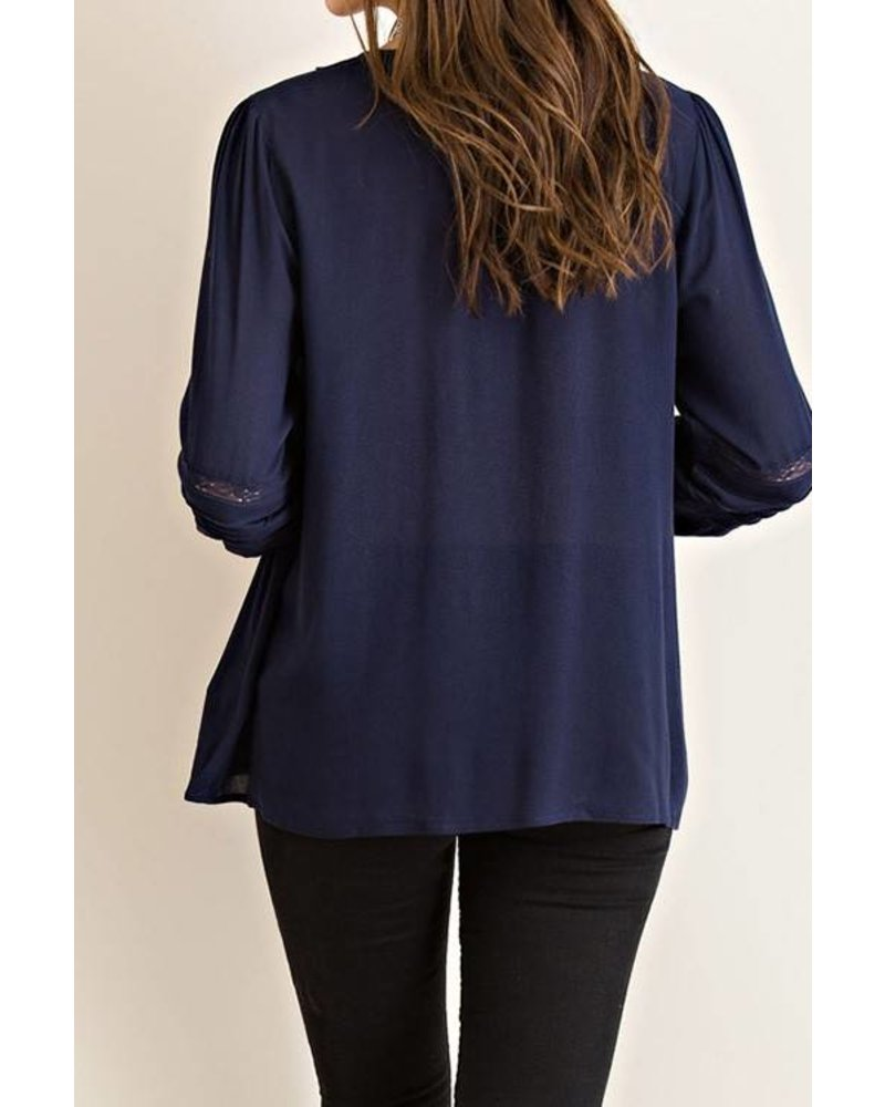 Solid Long Sleeve Peasant Top