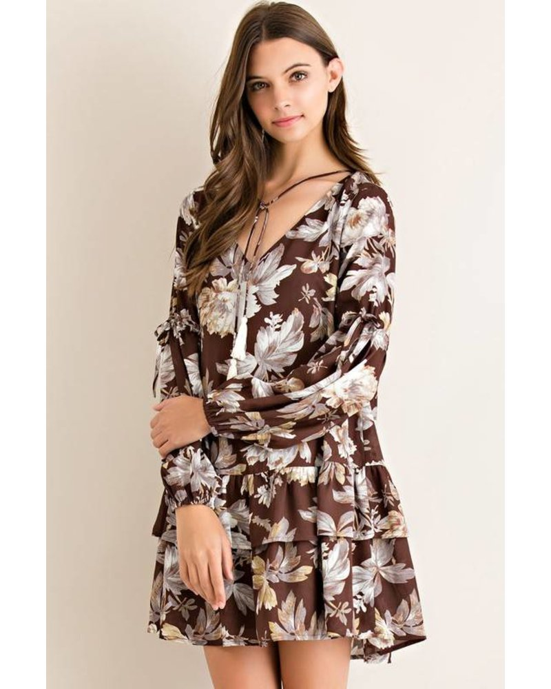 Ruffle Floral Shift Dress