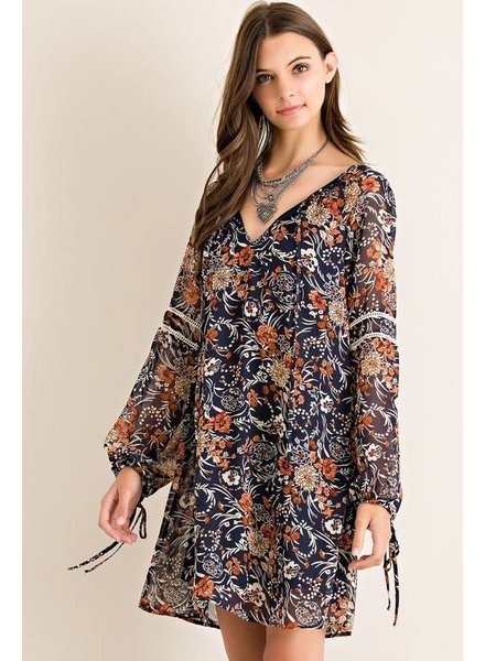Long Sleeve Floral Print Dress