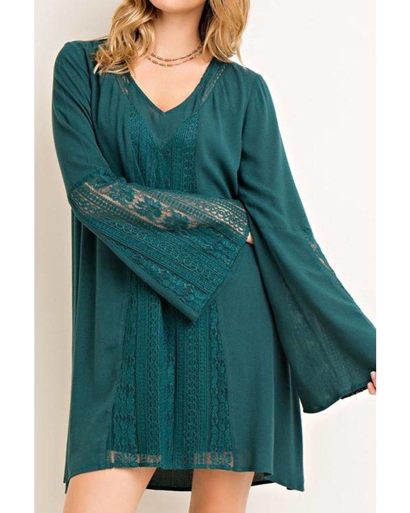 Lace Contrast Shift Dress
