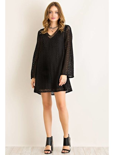 Solid Crochet Shift Dress