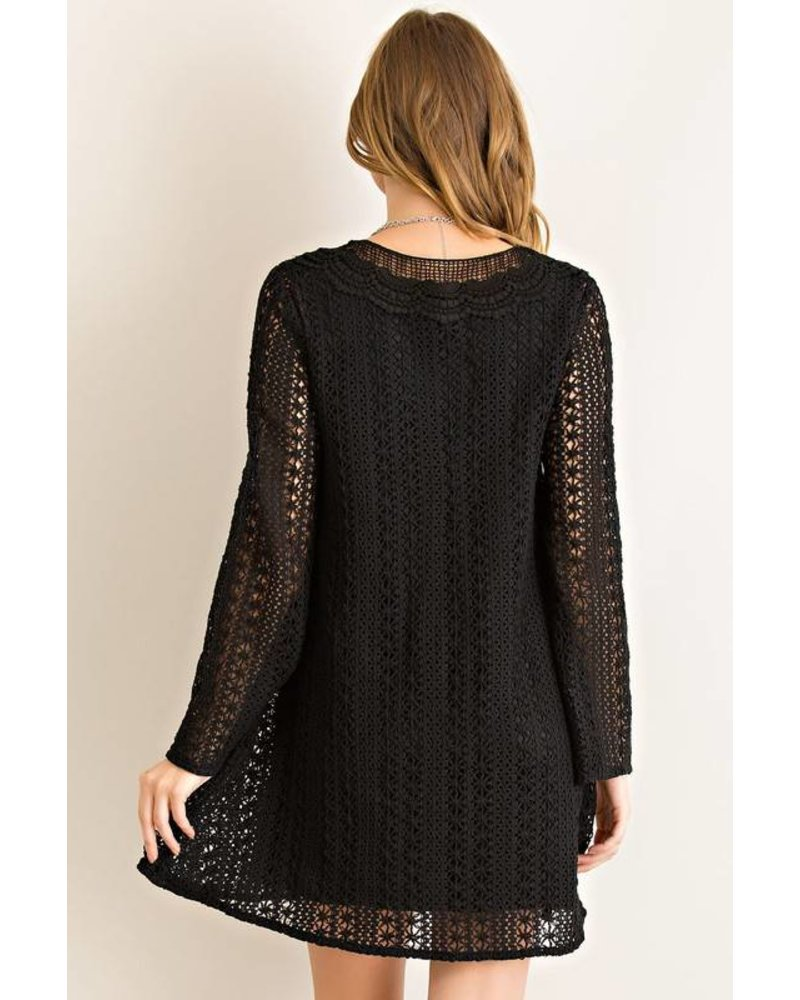 Solid Crochet Shift Dress
