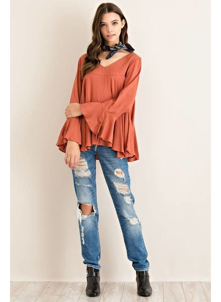 Solid Long Bell Sleeve Top