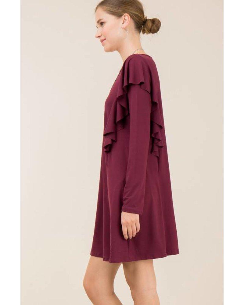 Ruffle Detailed Shift Dress