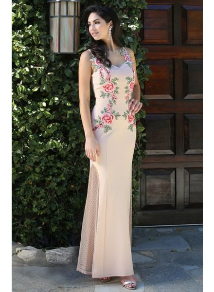Sheer Floral Patch Maxi