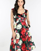Floral Fit and Flare Satin Dress