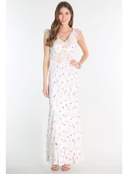 Floral Embroidered Ruffle Maxi
