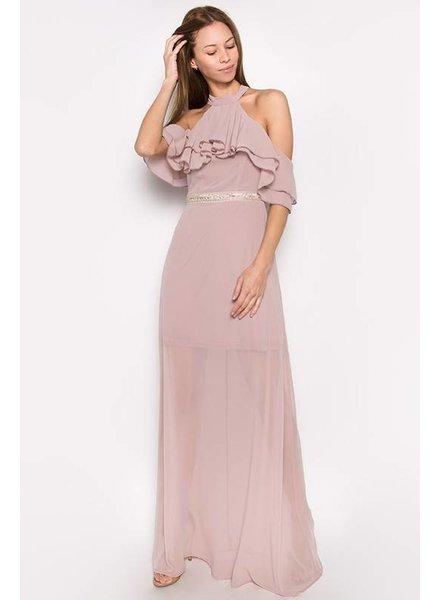 Halter Ruffled Maxi Dress
