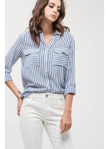Hi-Low Stripe Collard Top