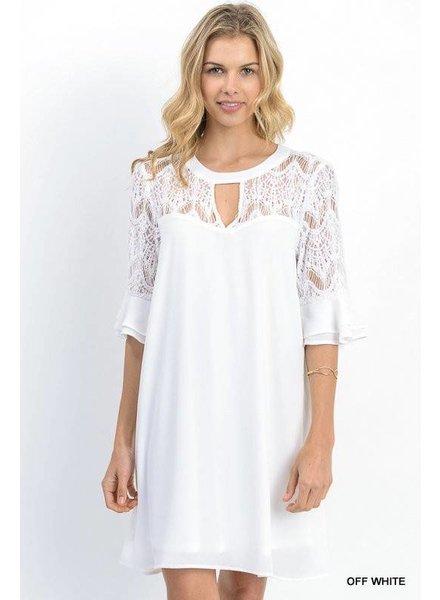 Lace Yoke Ruffle Dress