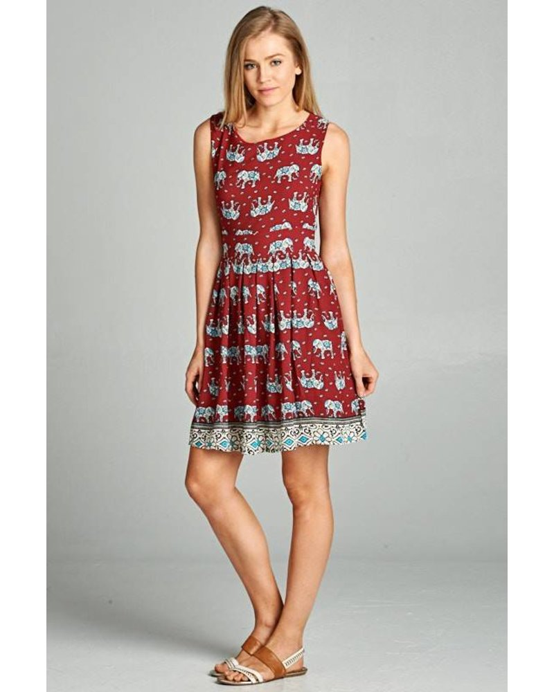 Elephant Print Tie Dress
