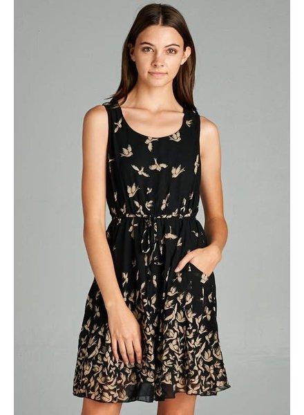 Bird Print Pocket Dress