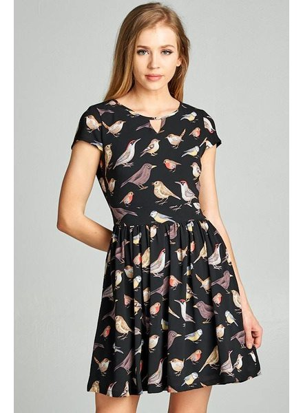 Bird Print Tie Dress