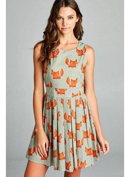 Fox Print Skater Dress