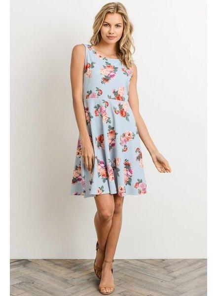 Floral V Back Dress