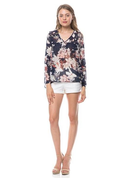 Long Bell Sleeve Floral Top