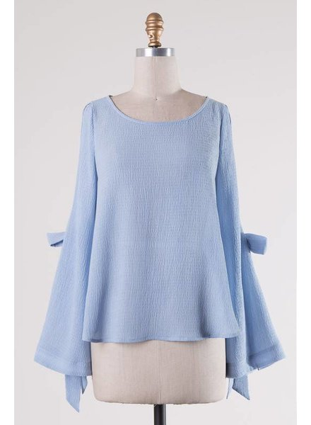 Solid Bell Sleeve Bow Top