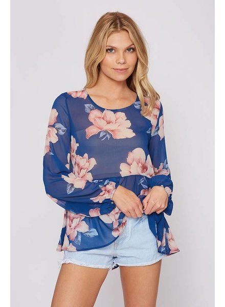 Sheer Floral Print Top