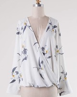 Crossover Floral Print Top