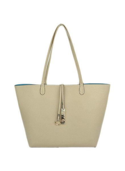 Payton Reverisble Tote in Light Beige Light Blue