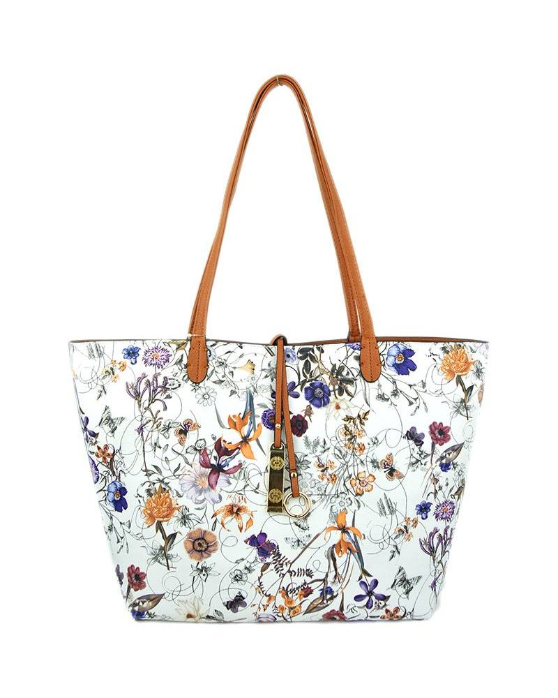 Payton Reversible Tote in Floral Camel