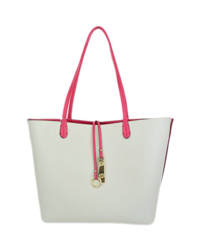Payton Reversible Tote in Hot Pink Ivory