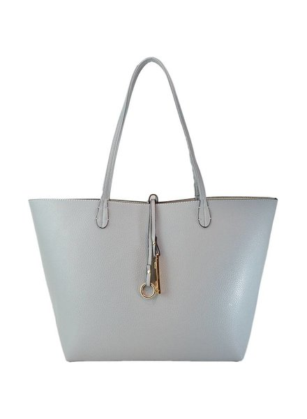 Payton Reversible Tote in Light Grey Ivory