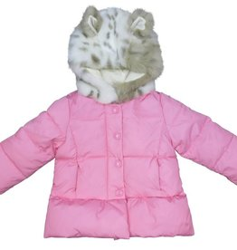 Dave & Bella Pink Jacket with faux leopard fur wood